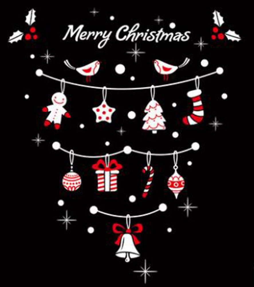 Black Temptation Décoration de Noël Accueil / Boutique / Sticker vitres Sticker muraux Holiday Accessories, Blanc # 48