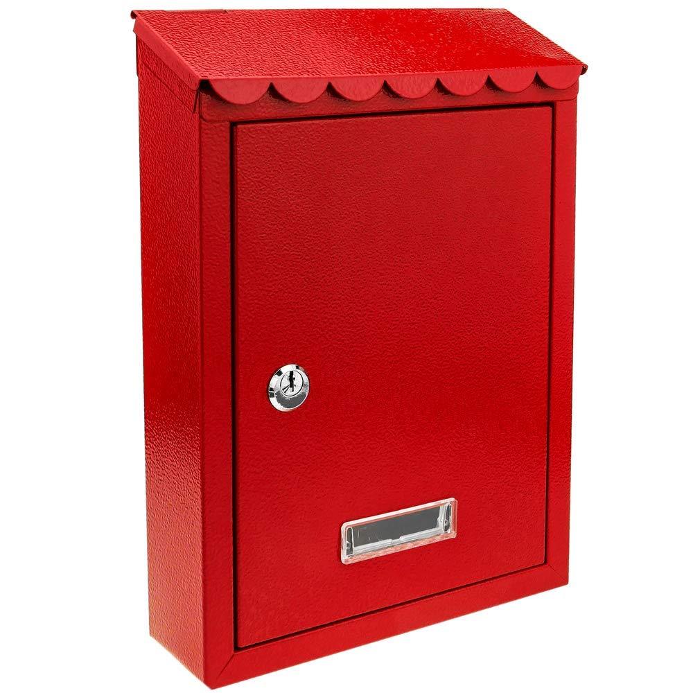 PrimeMatik – Boîte aux Lettres métallique coloré Rouge pour Mur 210 x 60 x 300 mm
