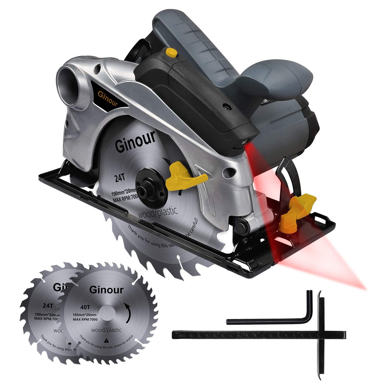 Scie circulaire, Scie électrique 1500W Ginour Guide Laser, 4700 RPM, Coupant: 67mm (90°), 46mm (45°), 2 Lames 40T+24T, Interrupteur de Sécurité pour Couper Bois