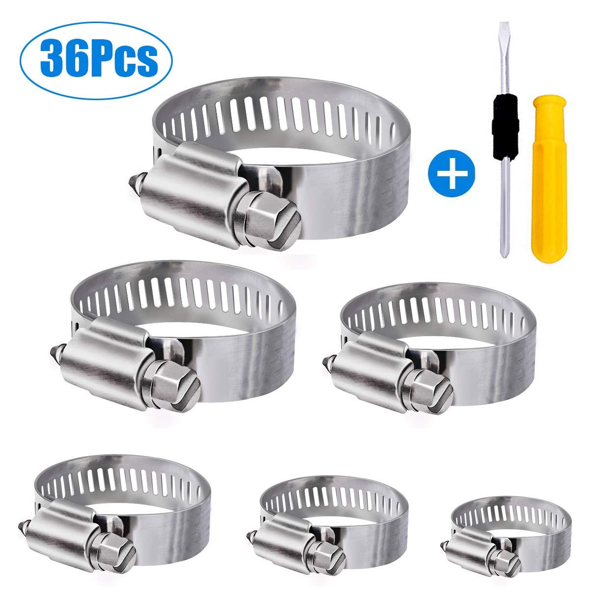Winwoner Tuyau Clips, 36 pièces réglable 6–51 mm Gamme en acier inoxydable Colliers de serrage Assortiment de 8 tailles pour famille Tuyau d'eau, réservoir de gaz, tube d'automobiles, etc.