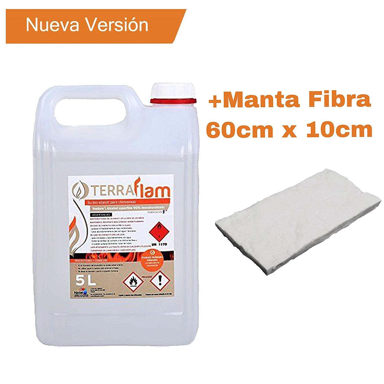 Bioetanol Terraflam 5Litros + Couverture Terraflam de fibre de bioéthanol de 60cm x de 10cm pour lampes et cheminées transparentes Combustion de haute qualité, sans émanations ni odeurs