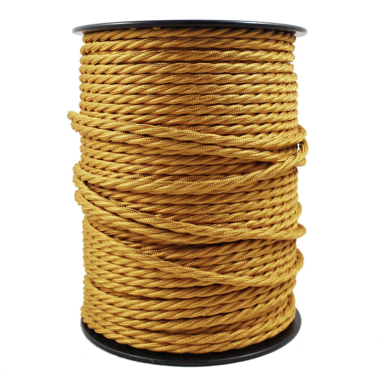 Câble électrique textile pour lampe. Longueur 2 Mètres, 3 broches (0,75mm²). Parfait pour des projets de bricolage maison