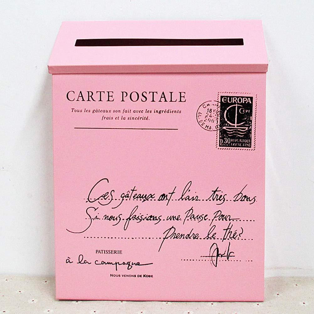 Vintage étanche Boîtier en métal pour boîte aux Lettres Tenture Murale de décoration Maison(Pink)