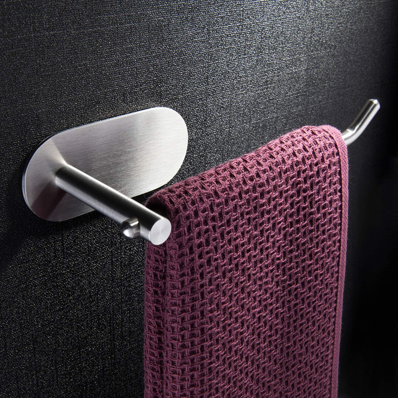 Auto-adhésif porte-serviettes ZUNTO. En acier inoxydable, pour salle de bains ou cuisine. Anneaux porte serviette