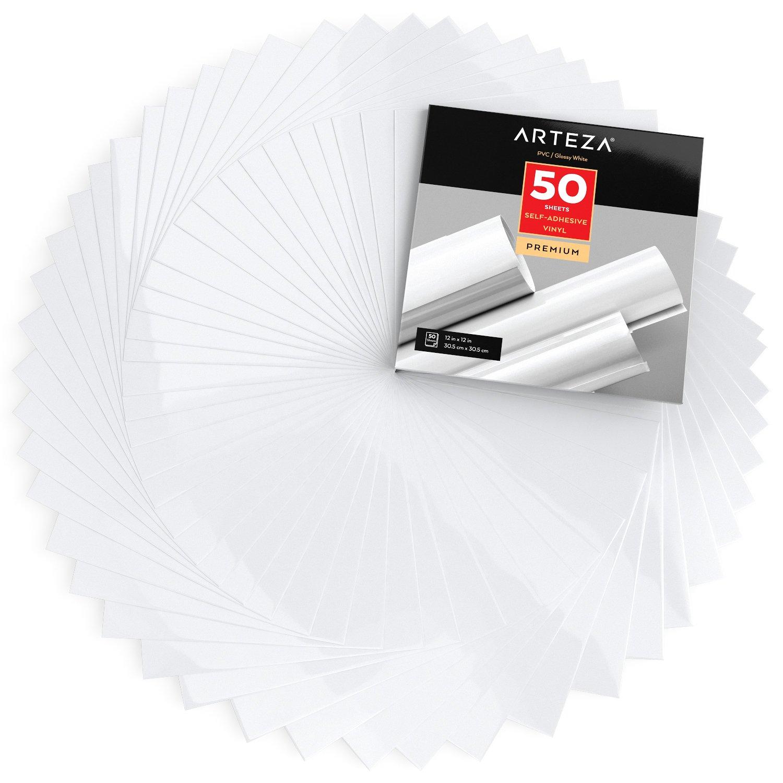 50 feuilles de vinyle ARTEZA  auto-adhésives blanc brillant
