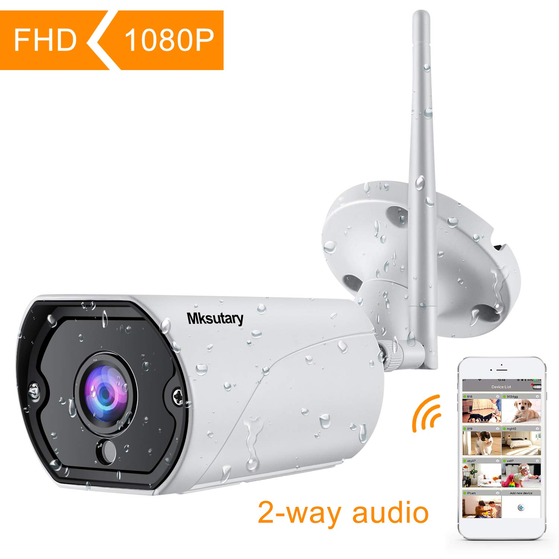 Caméra de Surveillance Extérieure, Caméra IP sans Fil Wifi 1080P, Audio Bidirectionnel Vision Nocturne Alerte de Détection du Mouvement par Mail Notification Vision à Distance par Ordi/Phone/Tablette