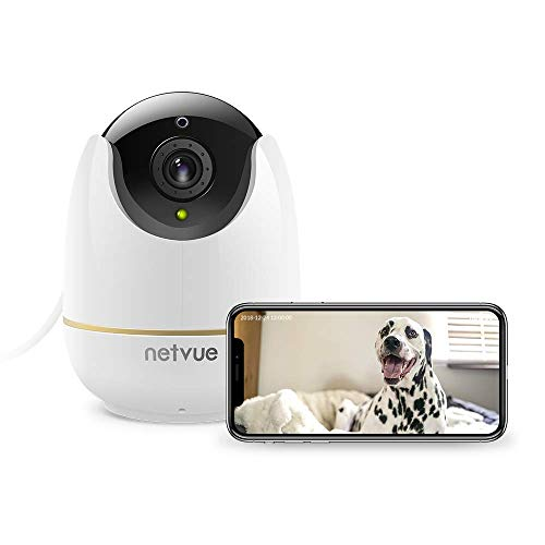 Caméra Surveillance WiFi Interieur, Netvue Full HD PTZ 1080P Caméra IP WiFi avec Détection de Mouvement, Zoom 8X, Vision Nocturne, Audio Bidirectionnel, Video Surveillance Chien Compatible Alexa