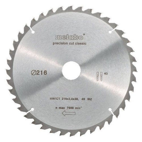 metabo 628060000 HW CT 216 x 30 mm lame pour scie, Gris