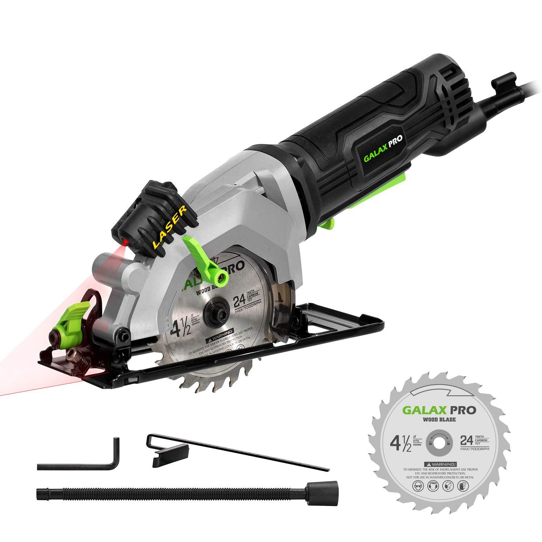 Mini Scie Circulaire, GALAX PRO 480W 3500RPM, Guide de Laser, Max Coupant: 42.8mm (90°), 28mm (45°), Bouton de sécurité, Guidage Garallèle, Scie Plongeante pour le Bois, le Métal/76602L