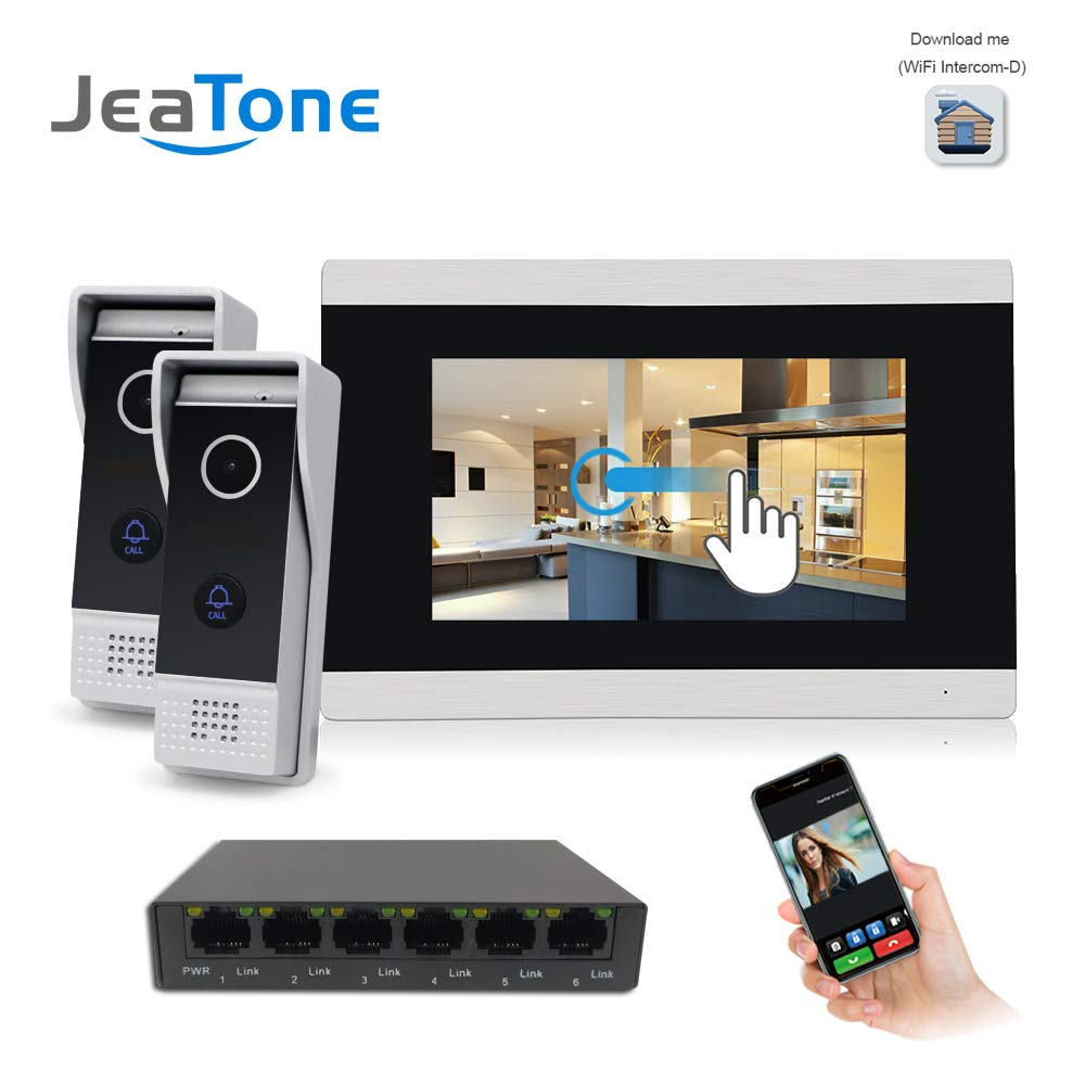 Sonnette d'interphone vidéo WiFi IP vidéo, moniteurs Couleur 7 Pouces et visiophone HD monté en Surface, contrôle de Deux verrous et système d'interphone de Version Nuit