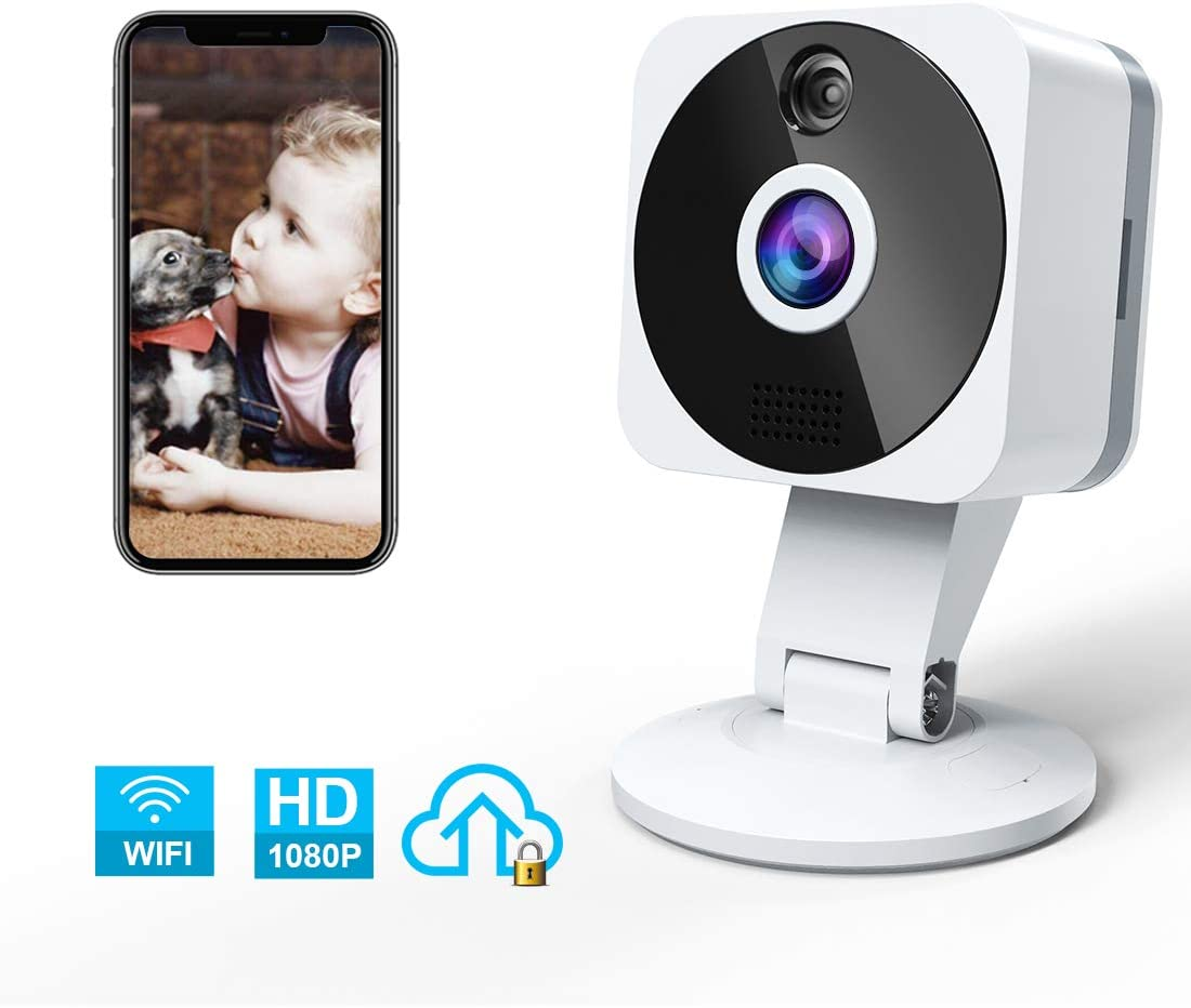 Camera Surveillance WiFi Interieur, NIYPS Full HD 1080P sans Fil Camera IP avec 2 Voies Audio,Vision Nocturne,Detecteur de Mouvement et Cloud, Intérieure Camera Espion pour Surveillance