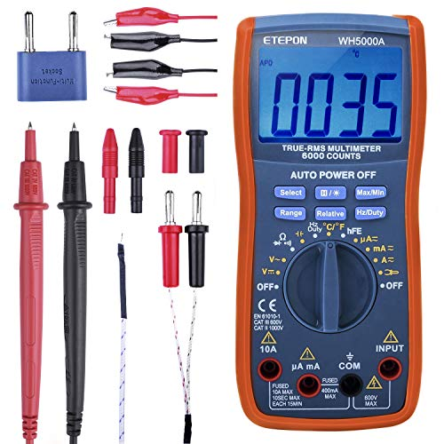 ETEPON Digital Multimètre True RMS 6000 Auto Raging Voltage Tester, Measures Voltage, Current, Resistance, Continuity, Frequency, Capacitance, Temperature, Test Diodes, Transistors