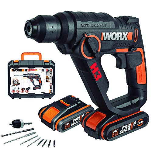 Worx WX390.1 H3 Marteau Perforateur Électrique sans fil 20 volts SDS-Plus