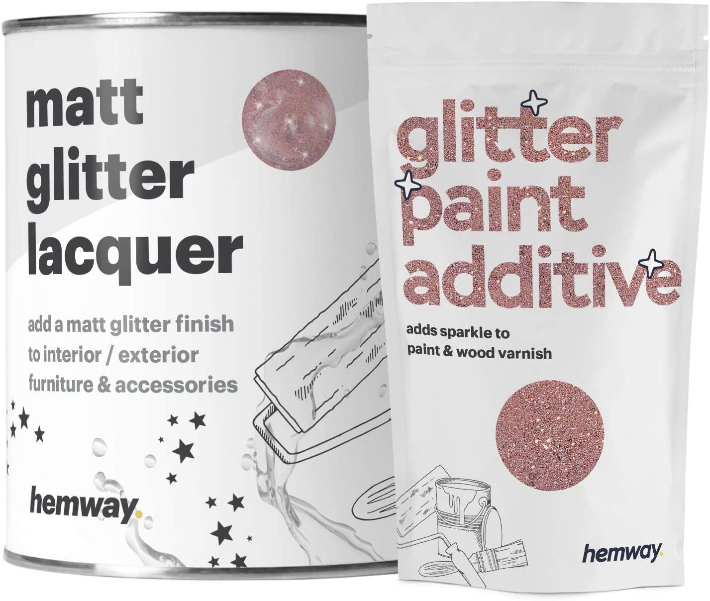 Hemway - Laque pailletée effet mat - vernis scintillant à séchage rapide - intérieur/extérieur/meubles/clôtures/boiseries/accessoires - brique/pierre/plâtre/plastique/carrelage en céramique - 1 L
