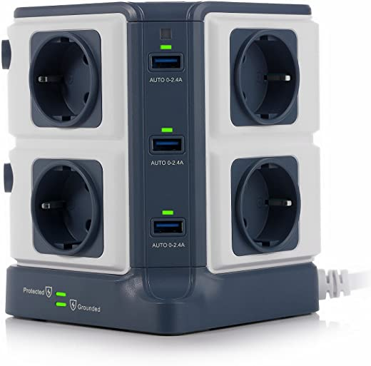 Multiprise Parafoudre BESTEK Parasurtenseur avec 8 Prises EU et 6 Ports USB 2,4A, Interrupteur, Adaptateur Douille, Clapet Sécuritaire, et 1600J Protection Surtensions
