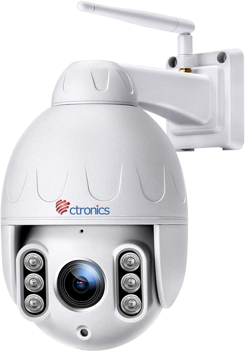 PTZ Dome Caméra de Surveillance WiFi extérieur, Ctronics Caméra extérieur sans Fil HD 1080P 360 ° avec 4X Zoom Optique, Audio bidirectionnel, Vision Nocturne de 50 m, Protection IP65