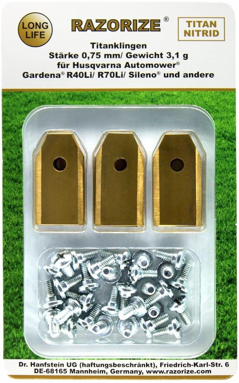 RAZORIZE® 18x Lames de rechange en titane pour tous les robots tondeuses de jardin Automower Husqvarna / Gardena / Yardforce / McCulloch, robuste (3.1 g / 0.75 mm) avec vis, 18 pièces