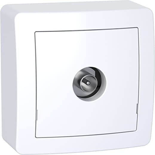 Schneider Electric SC5SHN0262311P Alrea Prise TV simple mâle blindée, Blanc