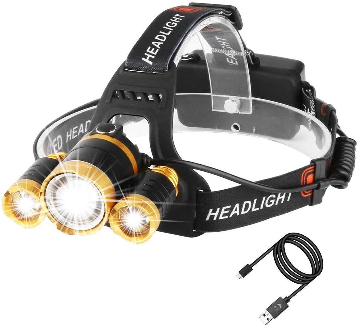 Lampe Frontale Puissante à 5000 lumens, Lampe Torche LED de Haute Qualité Zoomable et Étanche avec 2 x 18650 Batterie Rechargeable pour la Cave,la Spéléologie, la Chasse,l'Excursion, la Pêche,les Trav