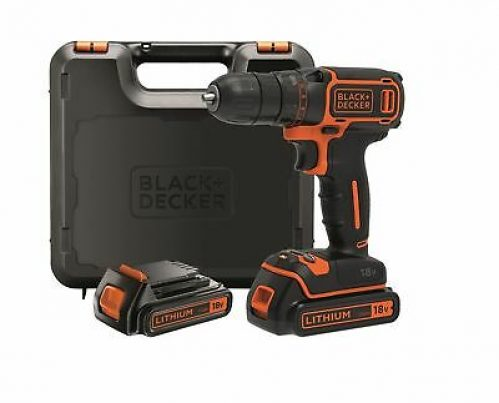 Black + Decker BDCDC18KB-QW Cordless Drill, 18V, with 2 Batteries, 3 Hour C... .