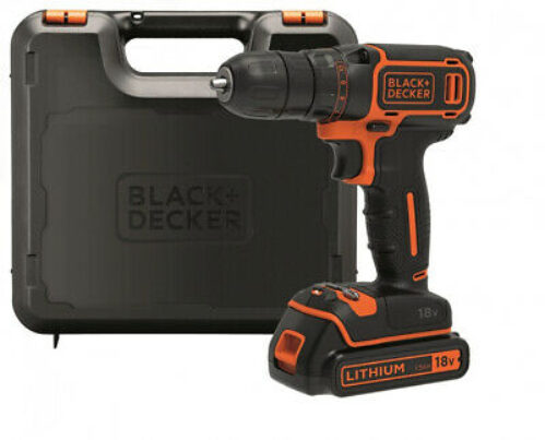 BLACK+DECKER BDCDC18K-QW Perceuse visseuse sans fil - 18V - 1,5 Ah - Lithium...