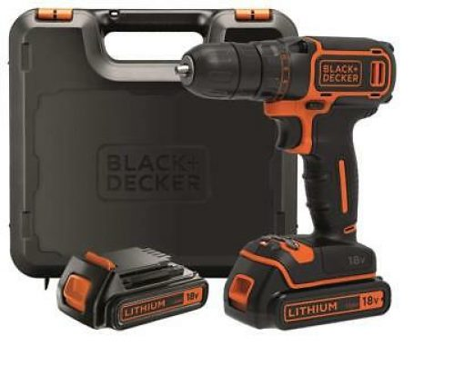 BLACK+DECKER BDCDC18KB-QW Perceuse visseuse sans fil- 18V - 2 Batteries+Chargeur