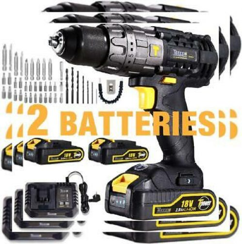 Cordless Drill Driver, TECCPO 60Nm Electric 2 Battries 2.0ah, 60nm, 35pcs
