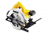 DeWalt DWE560-QS Scie circulaire filaire – Moteur 1350W – Ø190 mm – Profondeur de coupe 65 mmInclinaison de la lame 48° – Lame carbure 24 dents – Guide parallèle – Adaptateur d'aspiration – Clé – Mallette de transport