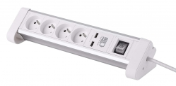 Electraline 35440 Bloc Multiprise de bureau encastrable 4 Prises + Interrupteur + 2USB 3A, Longueur 1, 5 M Section 3G1 mm² Blanc