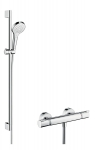 Hansgrohe Ensemble de Douche Croma Select S 110 Vario avec Mitigeur Thermostatique et Barre 90cm Blanc/Chrome 27014400