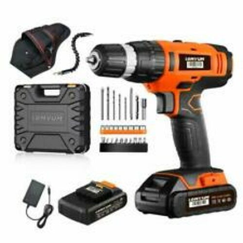 Lomvum 20V Cordless Impact Drill 8720T with 2 * 2.0Ah Li-Ion Batteries,2 Speed H