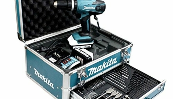 Makita HP457DWEX4 : Perceuse visseuse à percussion dans sa mallette en alu