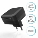 PAZZiMO Chargeur USB Type C Noir, Chargeur Mural Compact & léger, Chargeur Quick Charge 4+ / Power Delivery 27 W, Chargeur pour iPhone, Samsung, Huawei, Xiaomi, LG, etc.