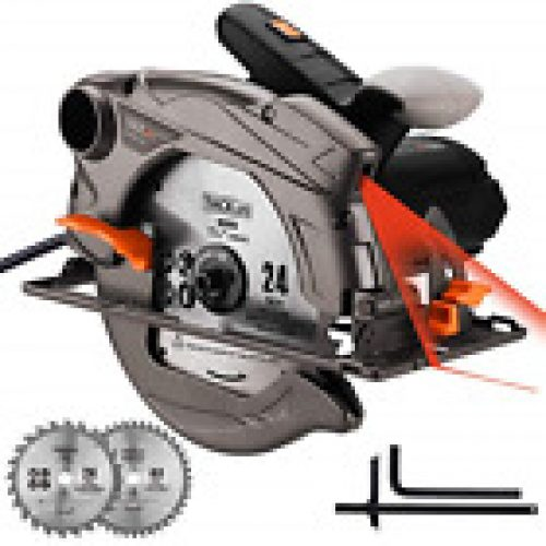 TACKLIFE 1500W 4700RPM Circular Saw, Electric Saw with Laser, 2 Blades185mm, and