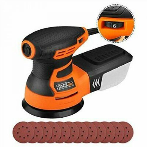 TACKLIFE Ponceuse Excentrique, Rotative, 350W 0-13000OPM, 6 Vitesses Variables