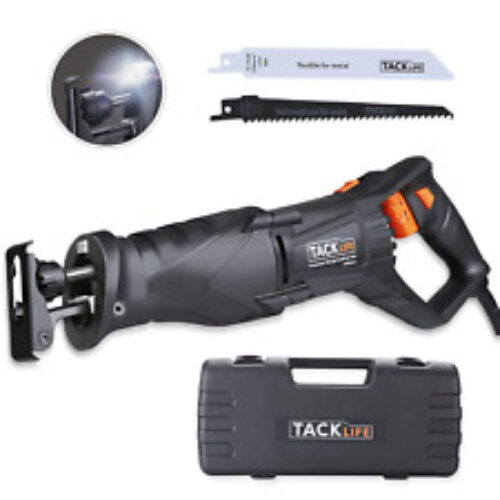 TACKLIFE Reciprocating Saw, 850W 2800RPM, LED Light, Variable Speed, 2 Saw Wood