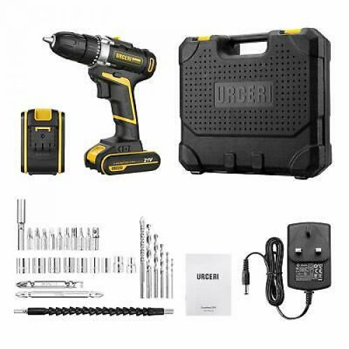 URCERI Cordless Electric Drill 21V, 2 Lithium-Ion Battery, Screwdriver Set 30Pcs