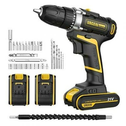 URCERI Cordless Electric Drill 21V Driver Kit 2 Speed 42N.m Max 2 Lithium..