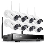 ZOSI 8CH HD 1080p NVR Enregistreur Vidéosurveillance sans Fil 8pcs Caméra IP WiFi 2,0MP Caméra sans Fil 1080p 30m Vision Nocturne IP66 APP Gratuite Smartphone & Mac & Windows sans Disque Dur